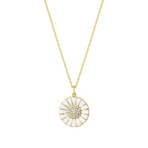 Georg Jensen Sterling Silver & 18kt Gold Large Daisy Pendant