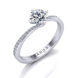Beards Round Brilliant Cut Diamond Twist Platinum Engagement Ring