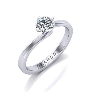 Beards Round Brilliant Cut Diamond Platinum Twist Engagement Ring