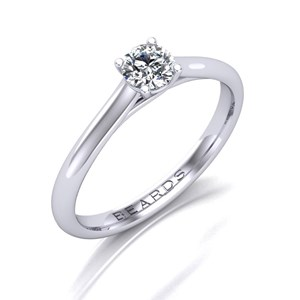 Beards Round Brilliant Cut Diamond Platinum Cross Over Engagement Ring