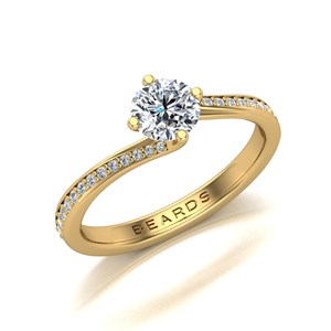 Beards Round Brilliant Cut Diamond 18ct Yellow Gold Twist Engagement Ring