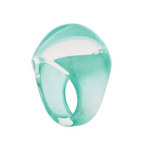 Lalique Clear Crystal with Green Patina Cabochon Ring