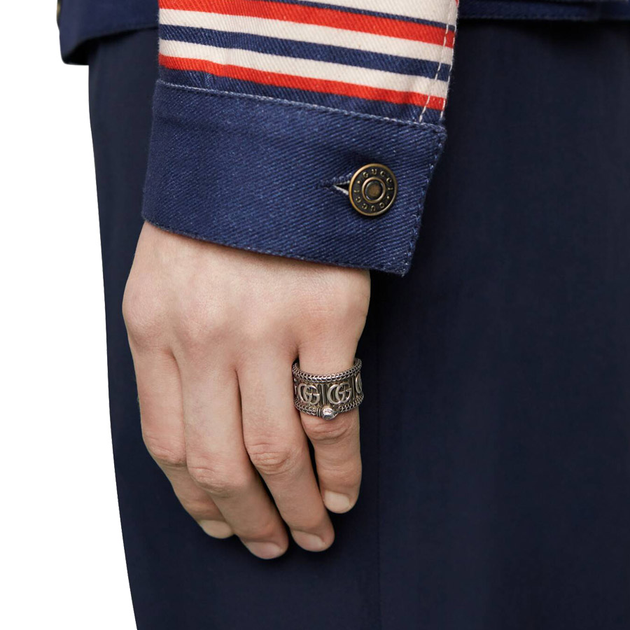 Gucci Marmont Double G Silver Ring