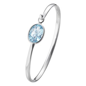 Georg Jensen Sterling Silver & Blue Topaz Savannah Bangle