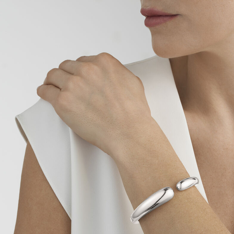 Georg Jensen Hinged Silver Mercy Bangle