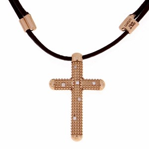 Damiani Metropolitan 18ct Rose Gold & Diamond Cross Pendant