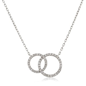 Beards 18ct White Gold & Diamond Double Circle Pendant