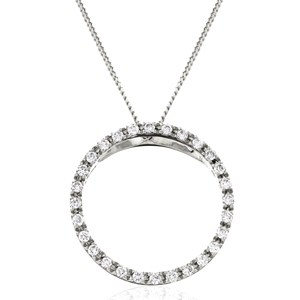 Beards 18ct White Gold & Diamond Large Circle Pendant