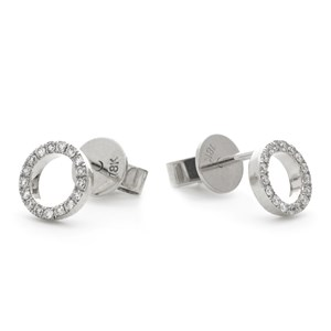 Beards 18ct White Gold and Diamond Circle Earrings