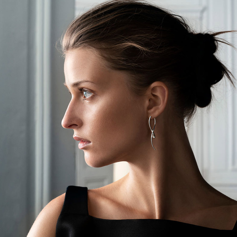 Georg Jensen Long Silver Mercy Earrings