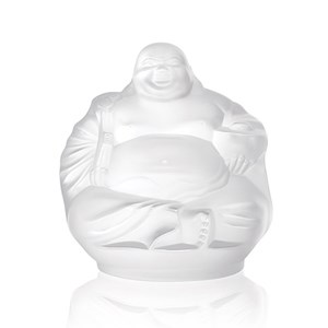 Lalique Clear Crystal Happy Buddha Sculpture