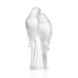 Lalique Clear Crystal Two Parakeets Sculpture