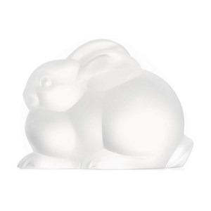 Lalique Clear Crystal Resting Rabbit Sculpture
