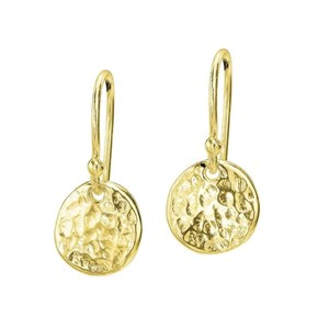 Dower & Hall 18ct Yellow Gold - 9mm Gold Hammered Disc Nomad Drop Earrings