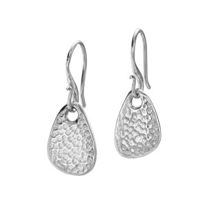 Dower & Hall Sterling Silver - Hammered Pebble Nomad Drop Earrings
