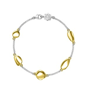 Dower & Hall Sterling Silver And Gold Vermeil - Mixed Pebble Chain Bracelet