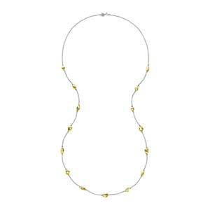 Dower & Hall Sterling Silver And Gold Vermeil - 15 Mixed Pebble Chain Necklace
